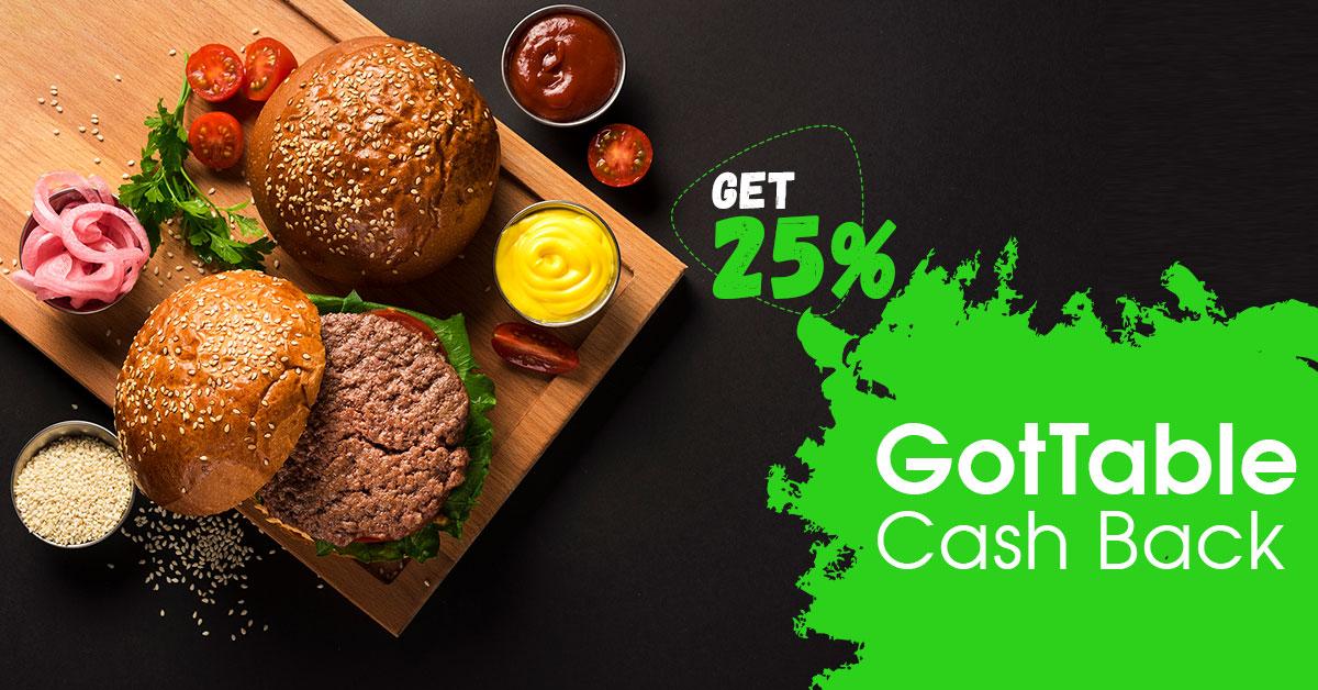 25% GotTable Cash Back